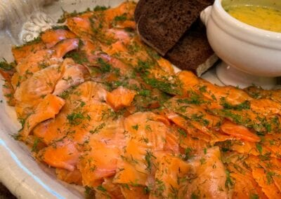 Salmon-Gravlax-Display-with-Dill-Caper-Sauce