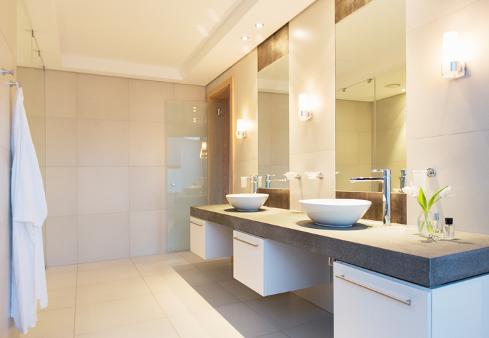 Carolina Electrical Supply Company   modern bathroom with recessed lighting and sliver and white light fixtures