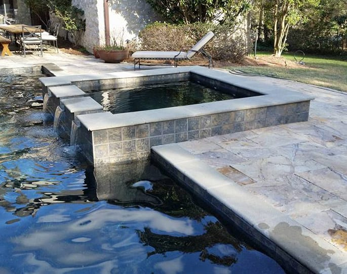 Nick's Pool Service | Fort Mill, SC | stone and tile water feature for built-in pool, Fort Mill, SC