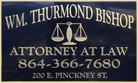 William Thurmond Bishop Attorney At Law Sign