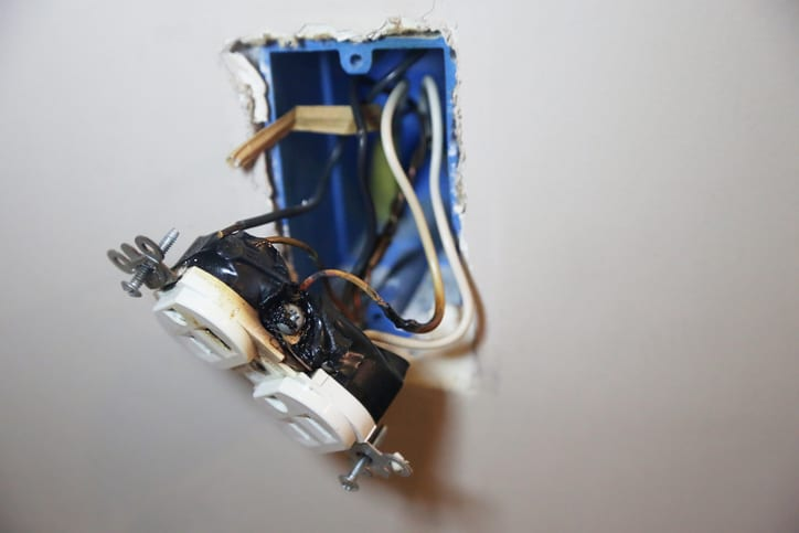 Palmetto Electrical Contractors | melted wall electrical outlet